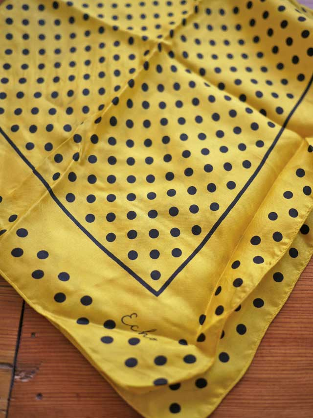 Vtg 60s Echo Black Yellow Polka Dot Japanese Silk Scarf