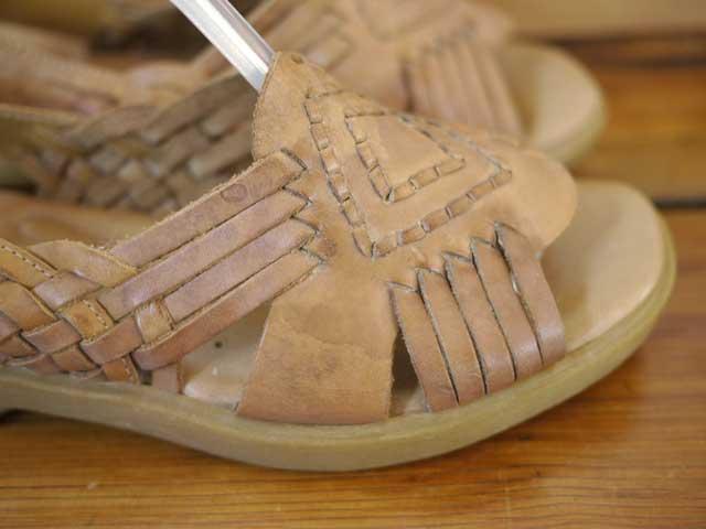 Vtg Dr Scholls Leather Huarache Slingback Comfort Sandals