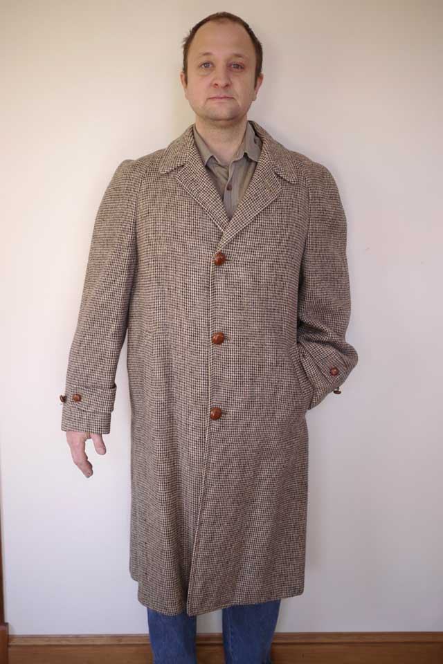 Vintage Harris Tweed Scottish Wool Woven Mens Trench Over