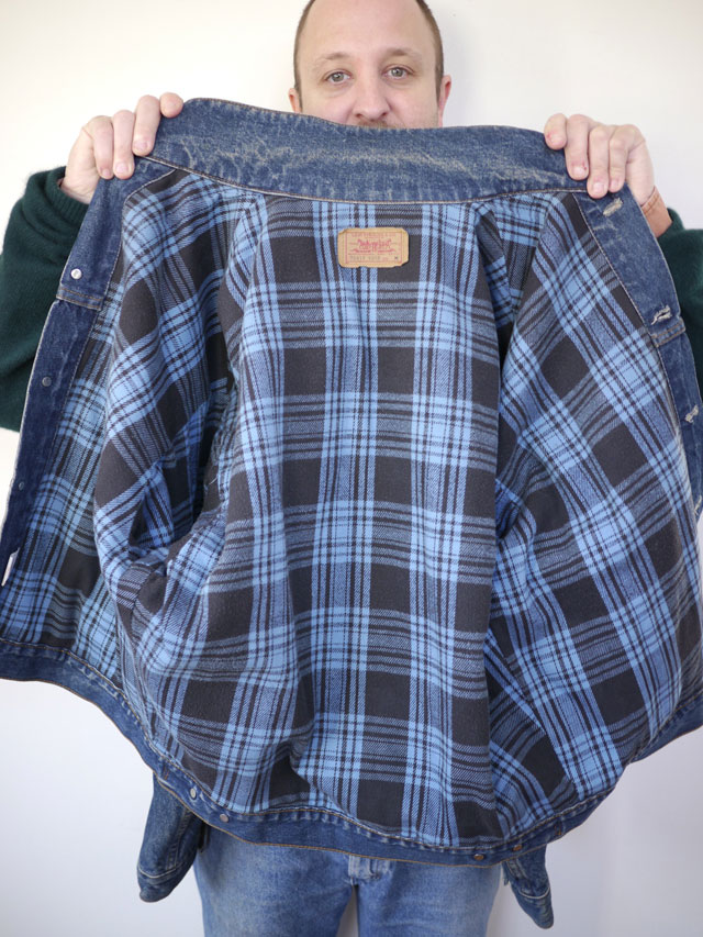 Our Plaid-Lined Denim Jacket has rugged style inside and out. Made of oz. denim, it takes on cool weather in style, with a stand-up collar, detachable hood, zip pockets, and seam detailing.