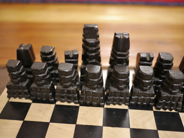 Vintage handcarved mexican aztec mayan white marble onyx stone chess set - Granite chess pieces ...