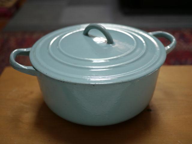 vtg le creuset baby blue enamel cast iron casserole dish pot w lid c france ebay. Black Bedroom Furniture Sets. Home Design Ideas