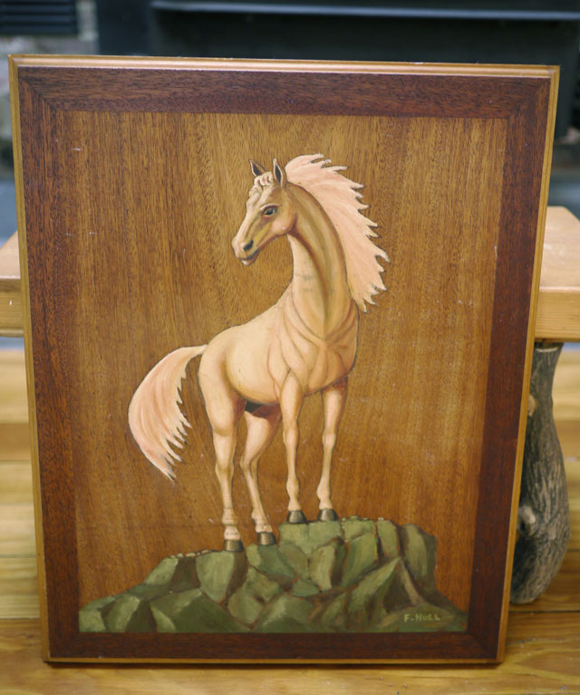 Vintage 70s kitsch original white horse acrylic painting for Mural on wood