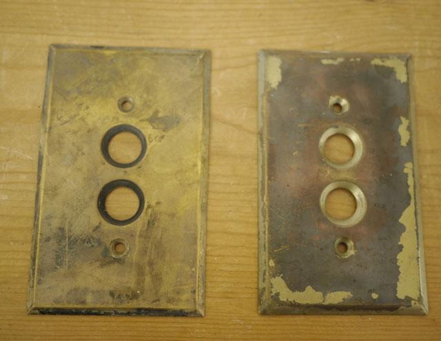 Pair Of 2 Antique Brass Finish Metal Single Push Button