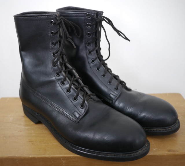 vintage 1981 us black leather combat jump boots