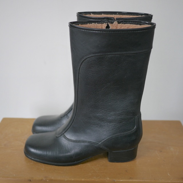 Vintage Black Rubber Fleece Granny Rain Snow Boots Womens