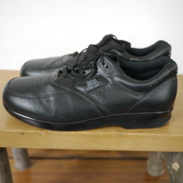 sas shoes mens time out black leather tripad comfort