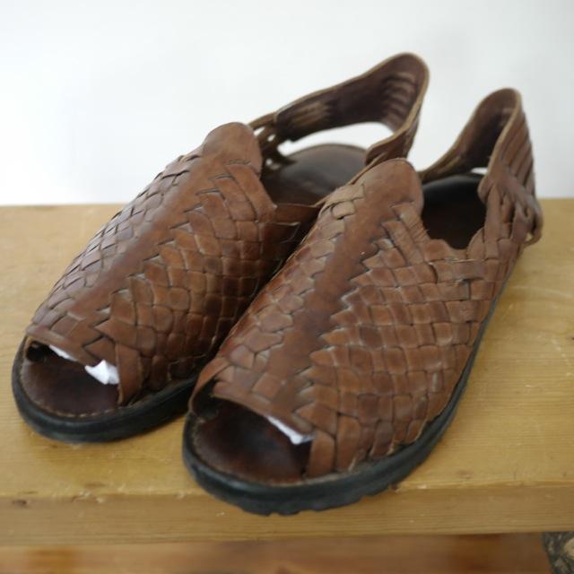 Mens Leather Tire Tread Huarache Sandals Flats Strappy