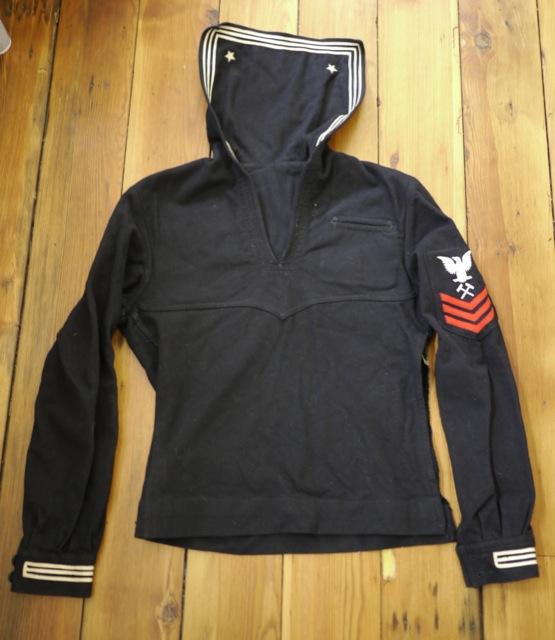 Vintage mid century us navy sailor cracker jack wool for Built for war shirt