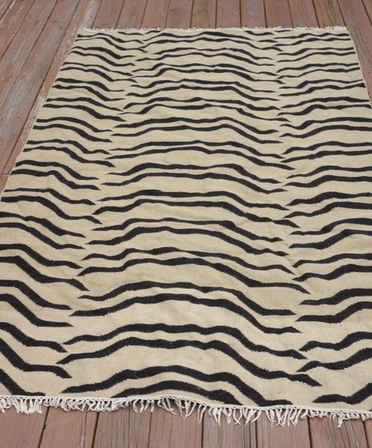 West Elm BENGAL TIGER Dhurrie Stripe Woven Knotted 100