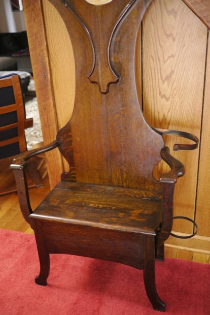 Vtg Antique Early 1900s Tiger Oak Hall Tree W Bench