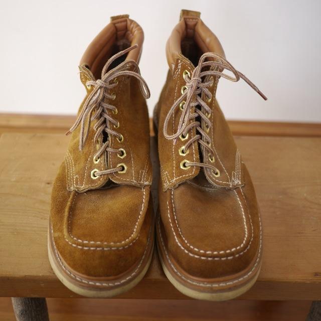 Vintage Moccasin Moc Toe Leather Lineman Logger Crepe