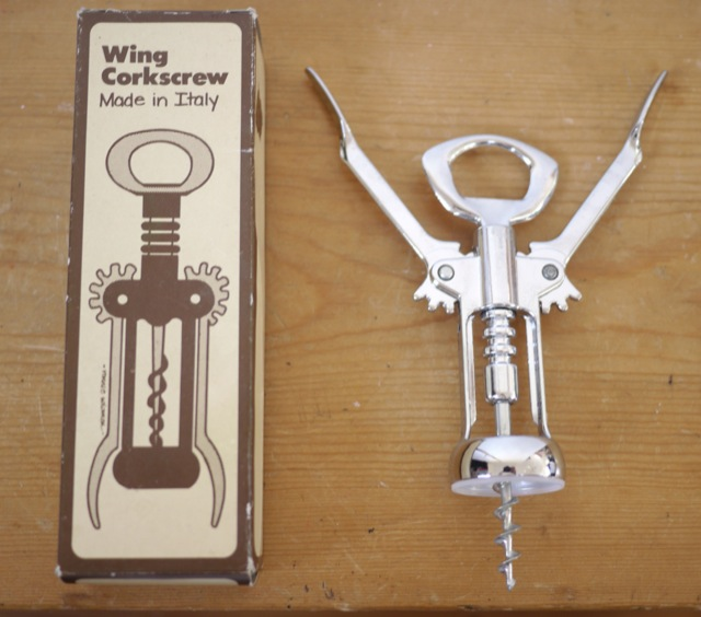 vintage hoan italian stainless steel wing corkscrew wine bottle opener ebay. Black Bedroom Furniture Sets. Home Design Ideas
