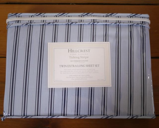 new nwt hillcrest blue ticking stripe 310 thread count twin extra long sheet set ebay. Black Bedroom Furniture Sets. Home Design Ideas